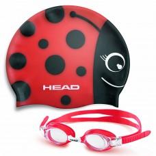 """Набор для плавания очки + шапочка """"божья коровка"""" HEAD Meteor детский"""